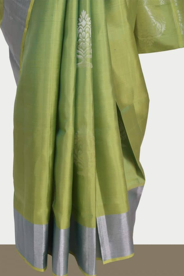 Sober green silk saree with silver zari -13705