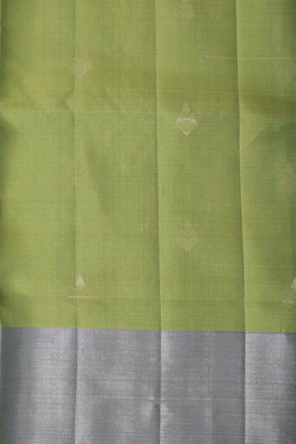 Sober green silk saree with silver zari -13706