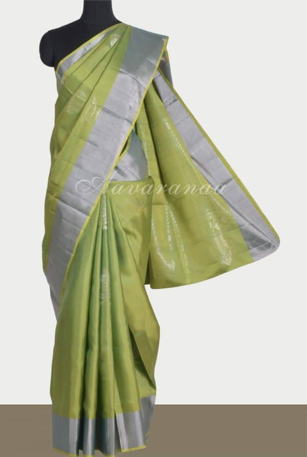 Sober green silk saree with silver zari -0