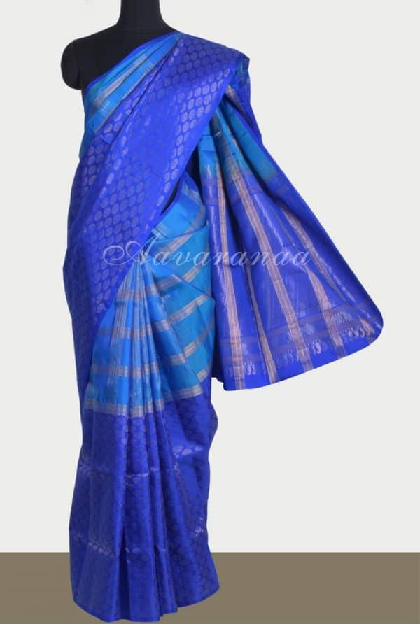Bluehalf and half silk saree-0
