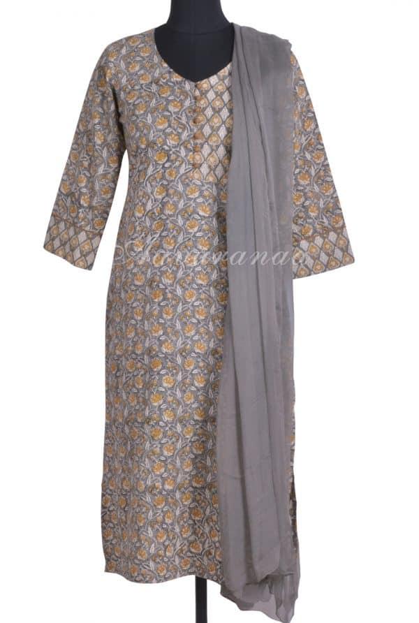 Grey floral printed cotton kurta-0