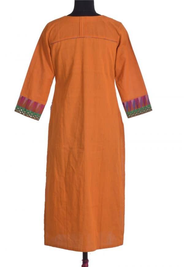 Mustard cotton kurta with kalamkari-13620