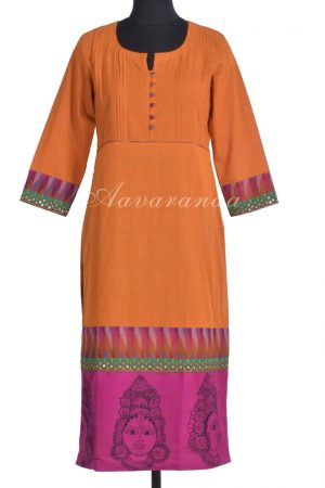 Mustard cotton kurta with kalamkari-0