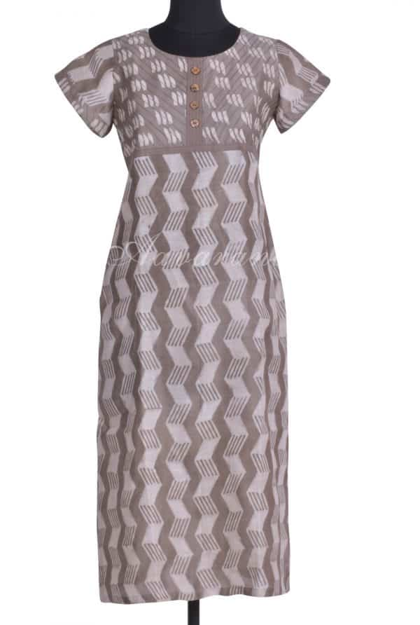 Grey chandheri yoke kurta-0