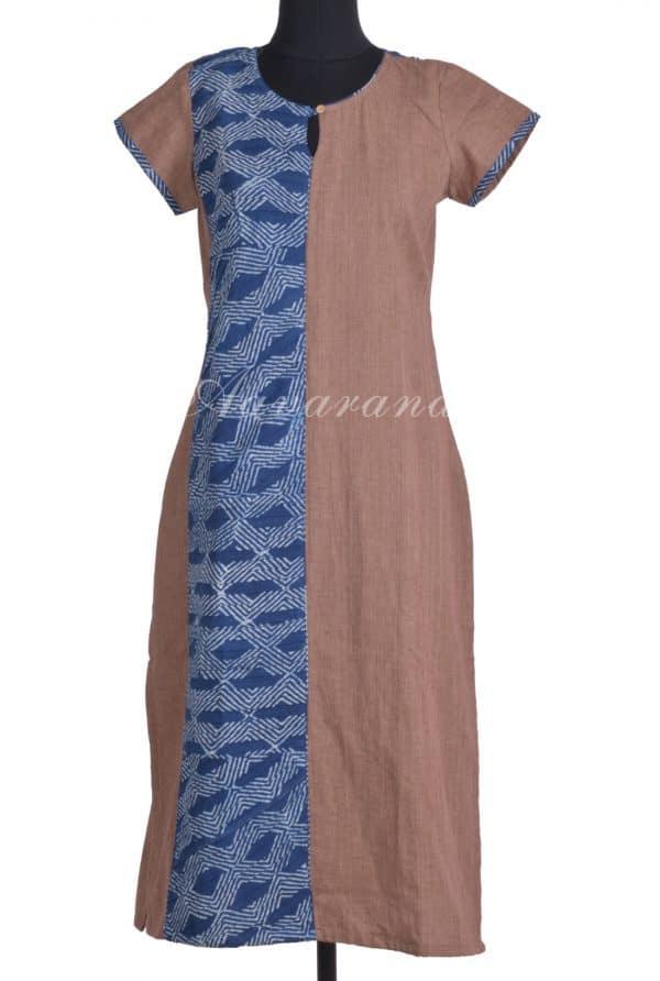 Brown cotton with indigo panel kurta-0