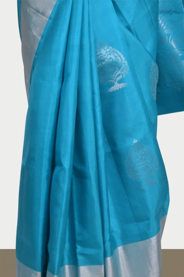 Sky bluesilk saree with silver zari -13753