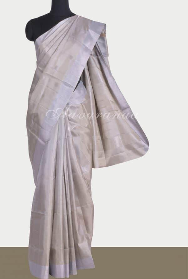 Creamsilk saree with silver zari polka-0
