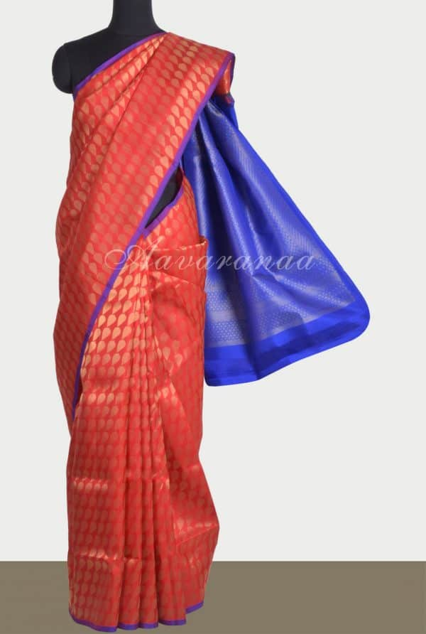 Red soft silk saree brocade-0