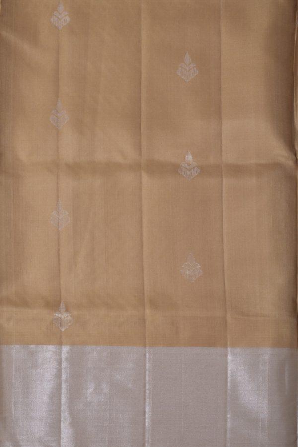 Beige soft silk with silve buttis-13810