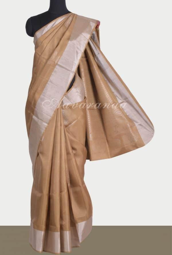 Beige soft silk with silve buttis-0
