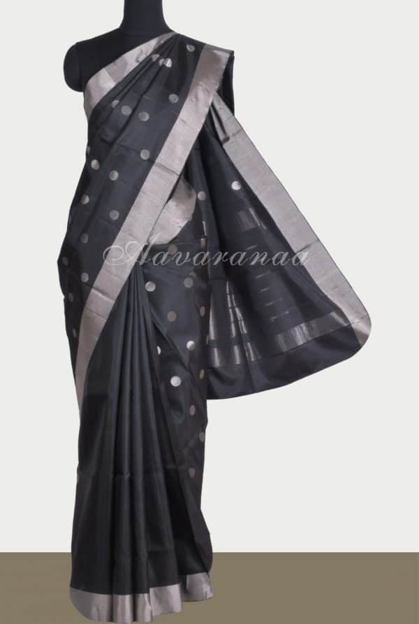 Black soft silk saree silver polka-0
