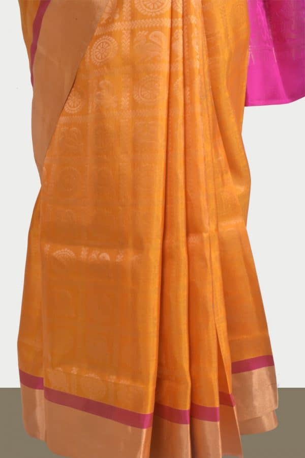 Yellow pure silk saree mayil chakram-13818
