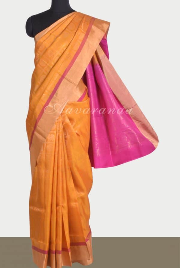 Yellow pure silk saree mayil chakram-0