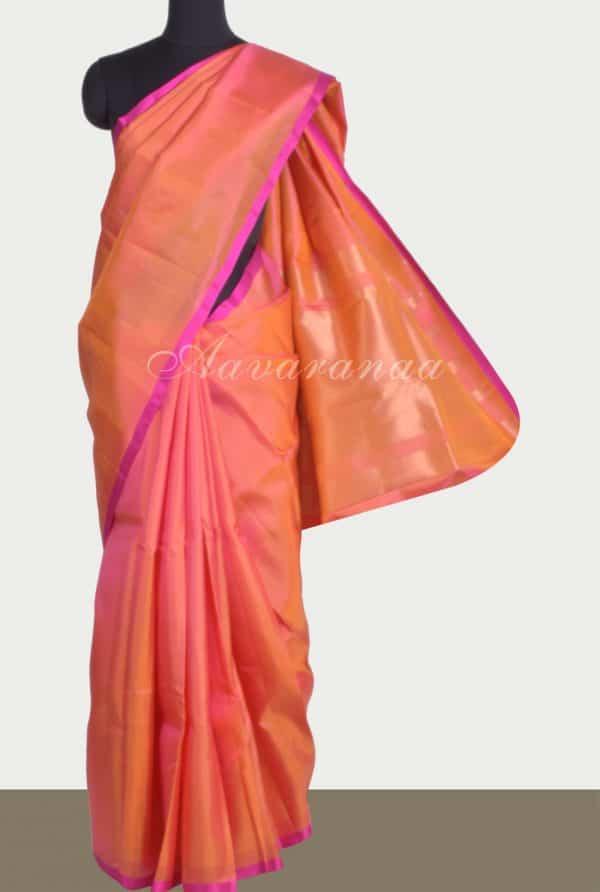 Plain peach silk saree brocade blouse-0