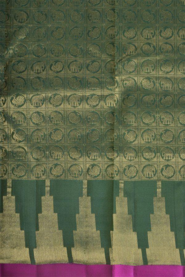 Plaingreen silk saree brocade blouse-13773