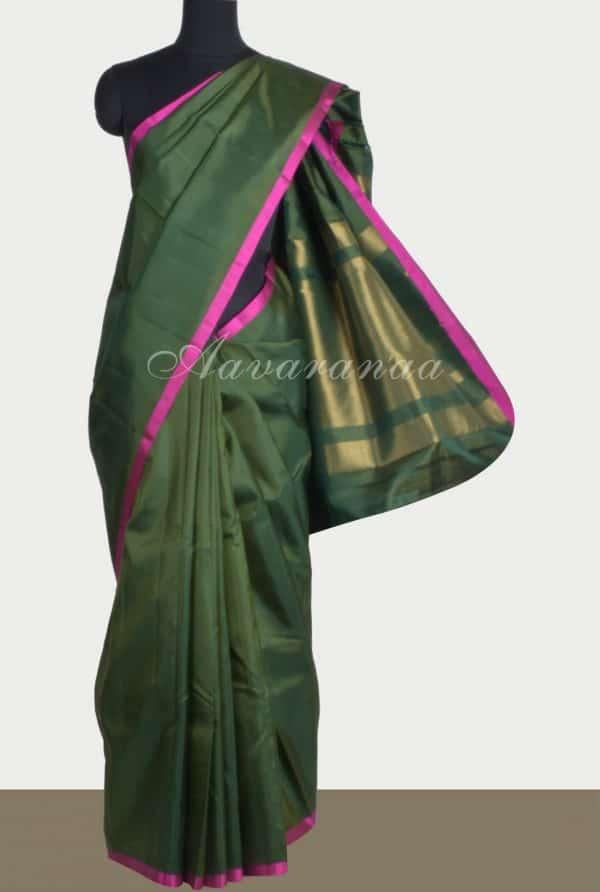 Plaingreen silk saree brocade blouse-0