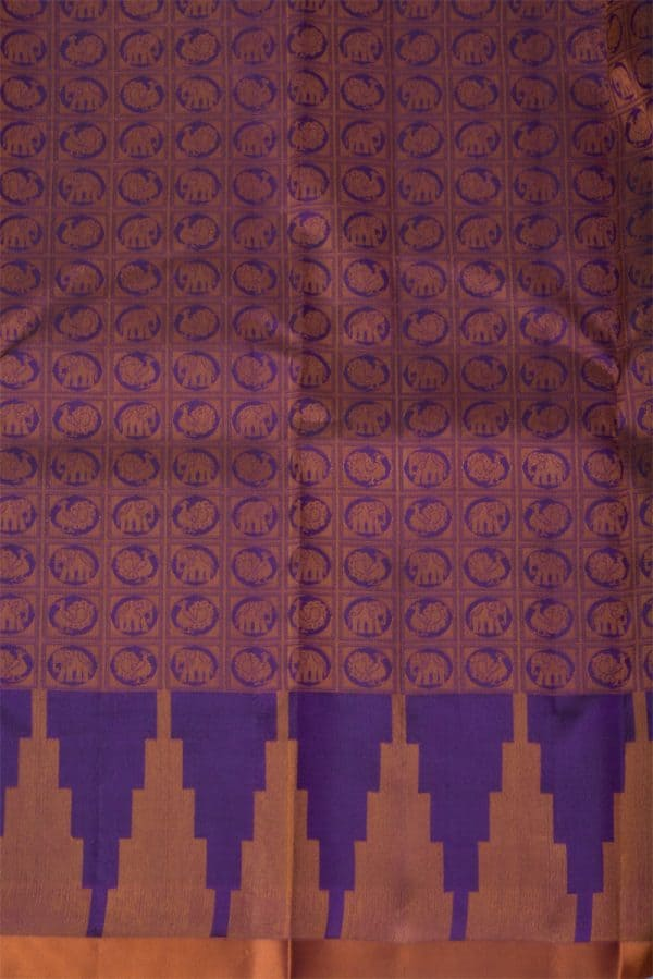 Plain Violet silk saree brocade blouse-13775