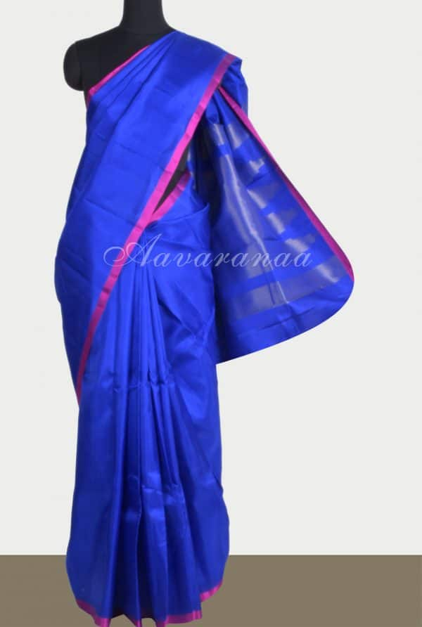 Plain blue silk saree brocade blouse-0
