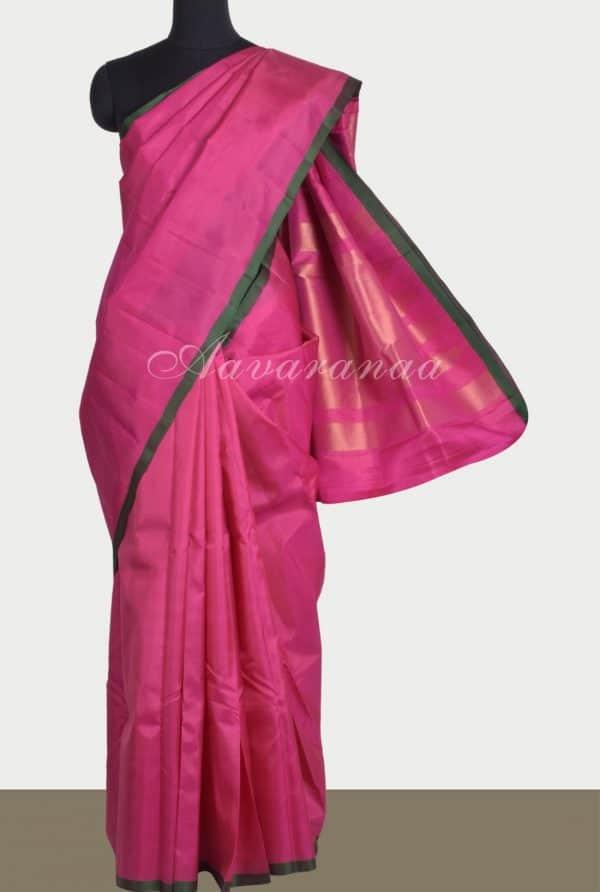 Plainpink soft silk saree brocade blouse-0