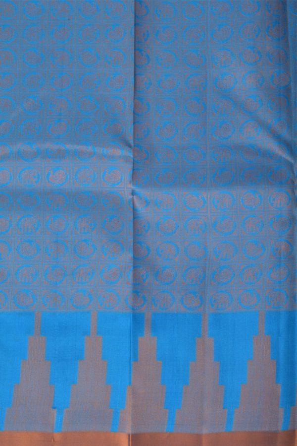 Plainblue soft silk saree threadbrocade blouse-13787