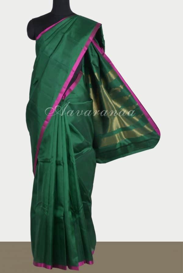 Plain darkgreen silk saree brocade blouse-0