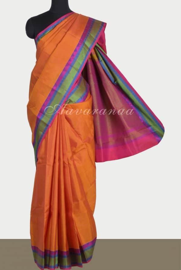 Plain orange soft silk saree thread border-0