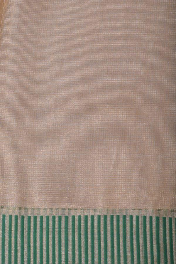 Gold tissue linen saree green border-13299
