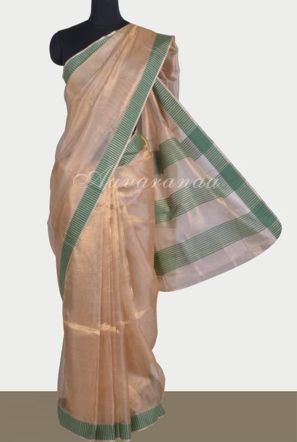 Gold tissue linen saree green border-0