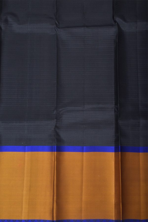 Black silk saree mustard border-13806