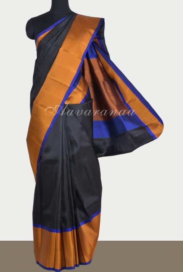 Black silk saree mustard border-0