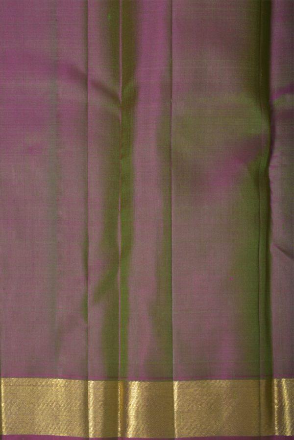 Green kanchi silk saree with mauve border-13868