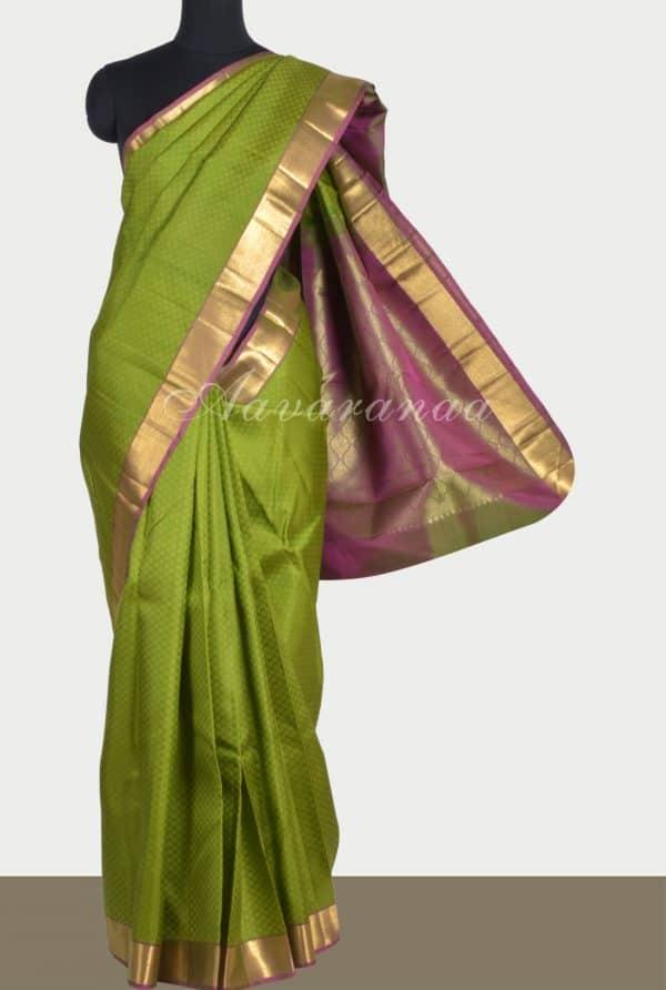 Green kanchi silk saree with mauve border-0