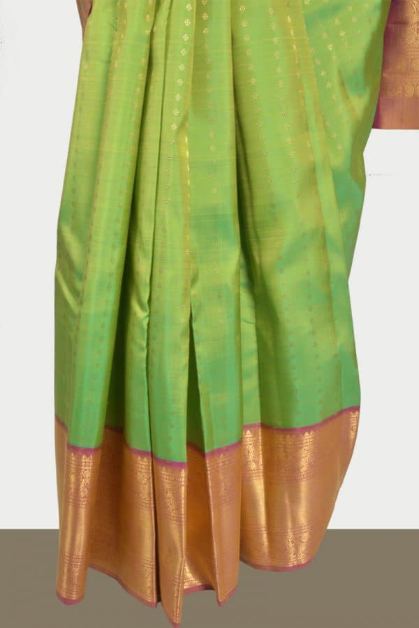 Lemon green kanchi silk brocade saree-13873