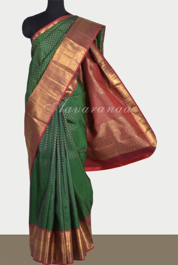 Bottlegreen kanchi silk brocade saree-0
