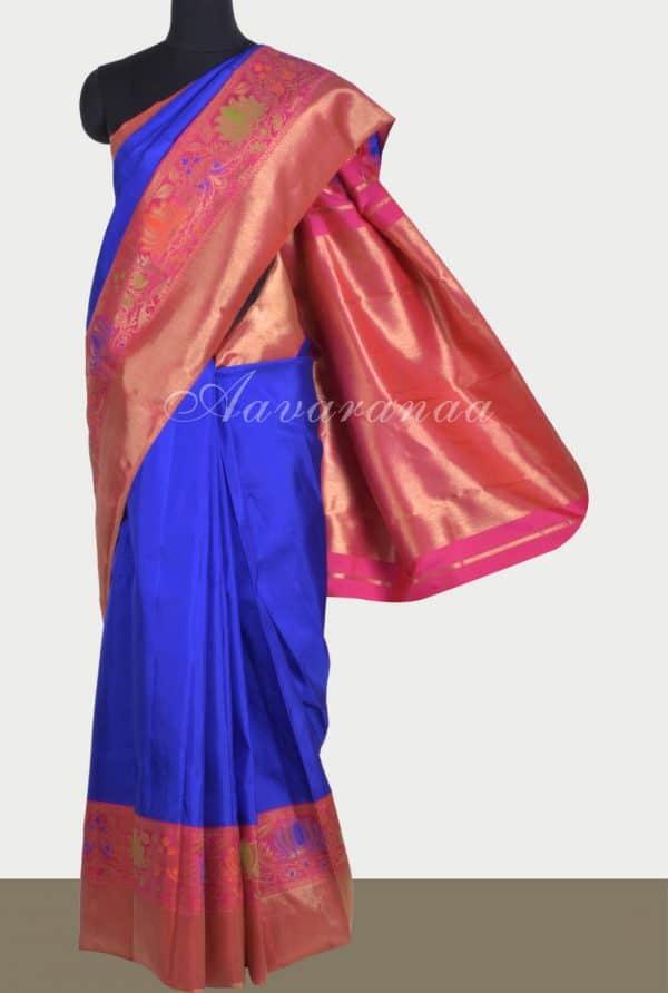 Blue kanchi silk saree with paithani style border-0