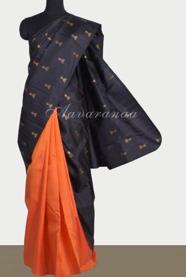 Rustblack half half kanchi silk saree-0