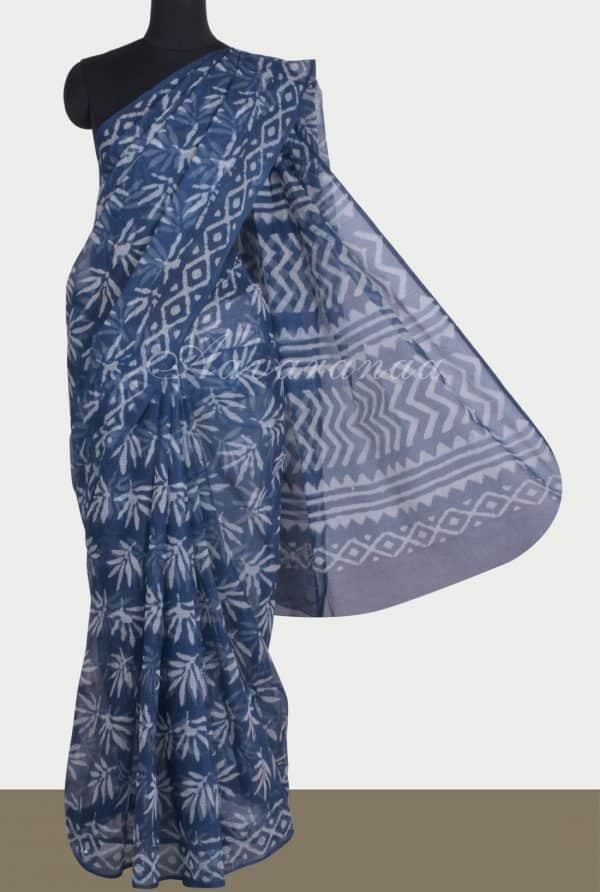 Indigo flower print kota saree-13733