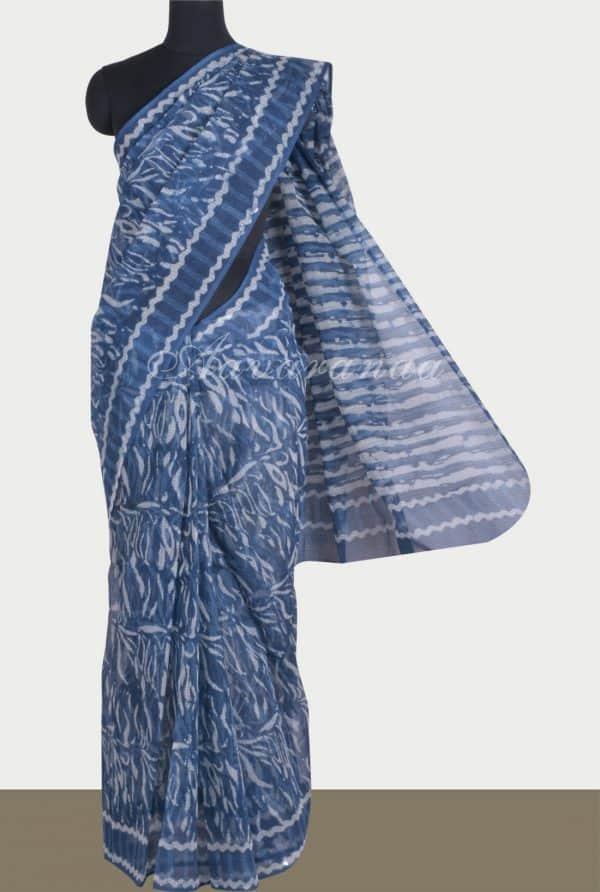 Indigo abstract print kota saree-0