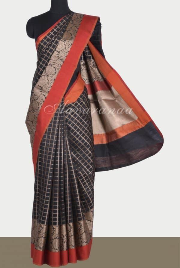 Black benaras cotton saree-0