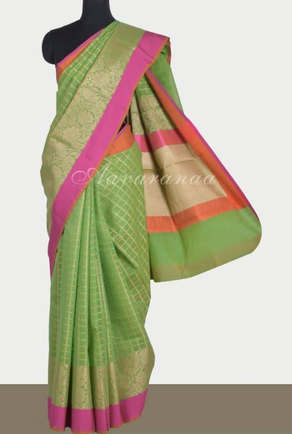 Greenbenaras cotton saree-0