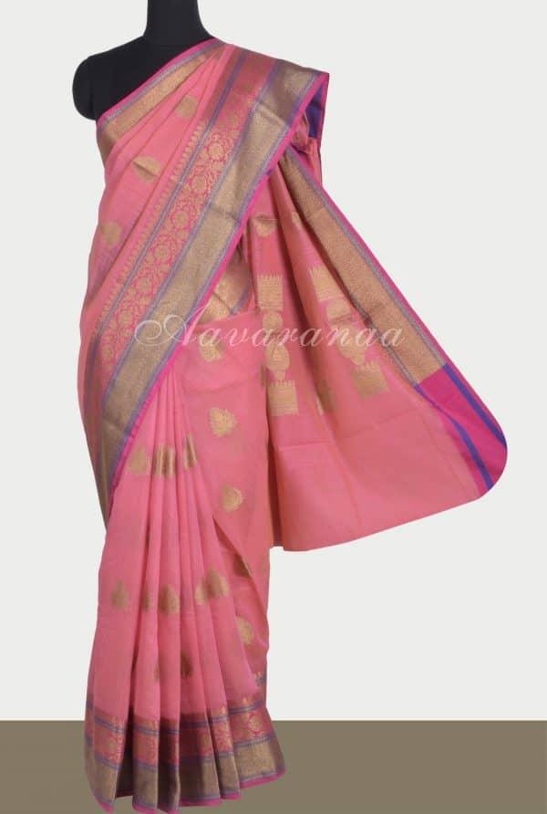 Pinkbenaras cotton saree-0
