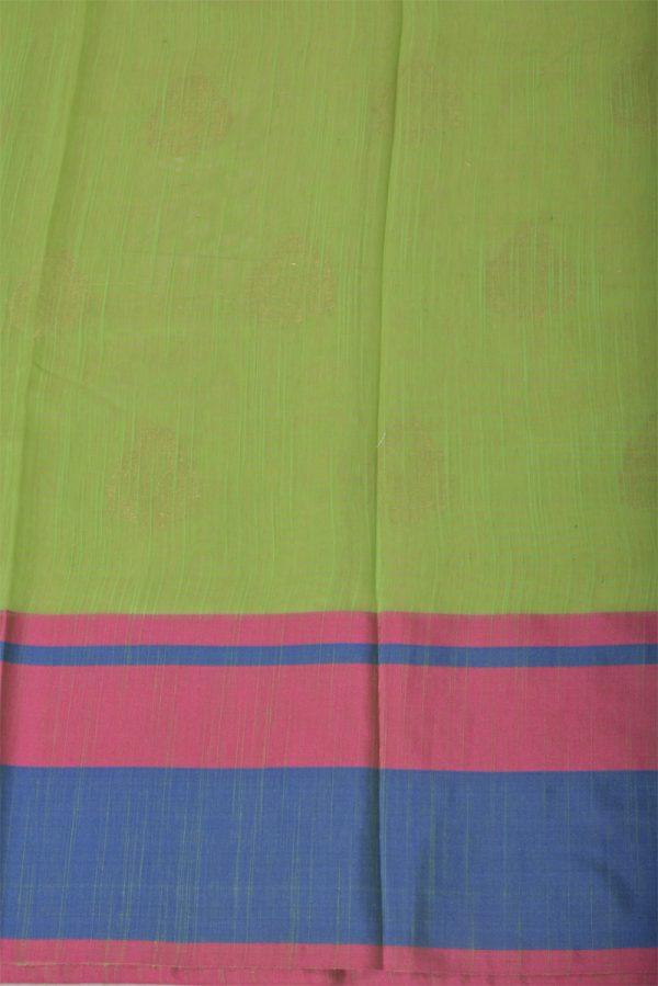 Greenbenaras cotton saree with buttis-13910