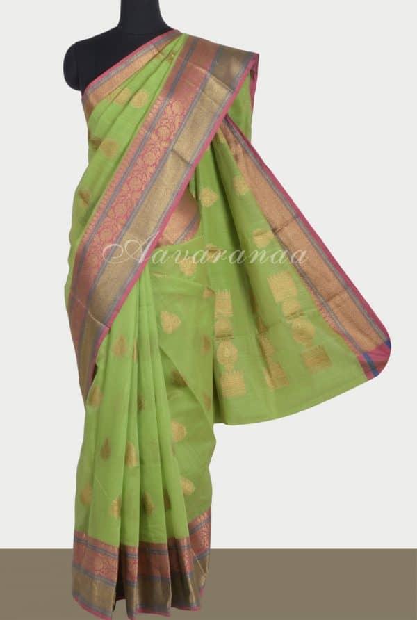 Greenbenaras cotton saree with buttis-0
