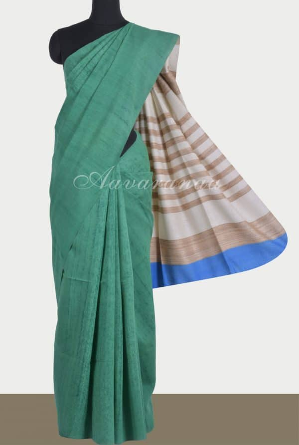 Sea green mutka linen saree-0