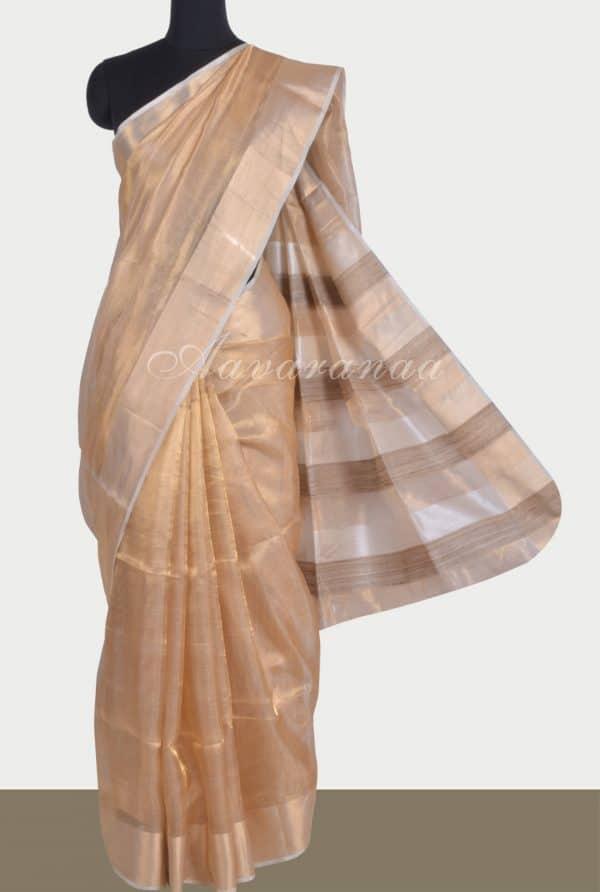 Gold tissue linen saree-0