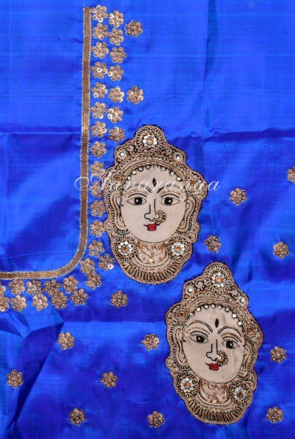 Kanchipuram silk saree in Green and blue checks -17714