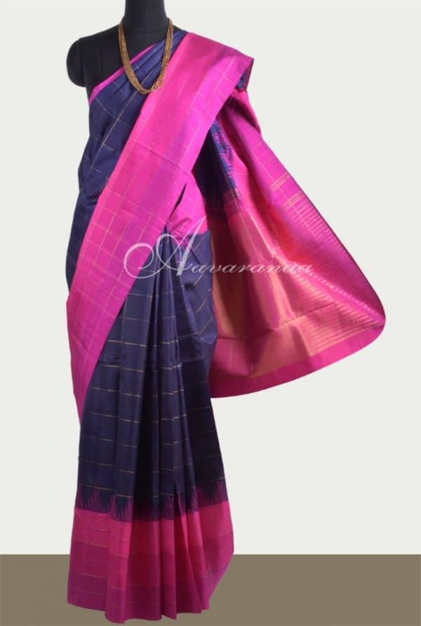 Navy blue kanchi silk with pink border-0