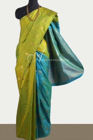 Leaf green with teal partly pallu kanchipuram silk saree-0