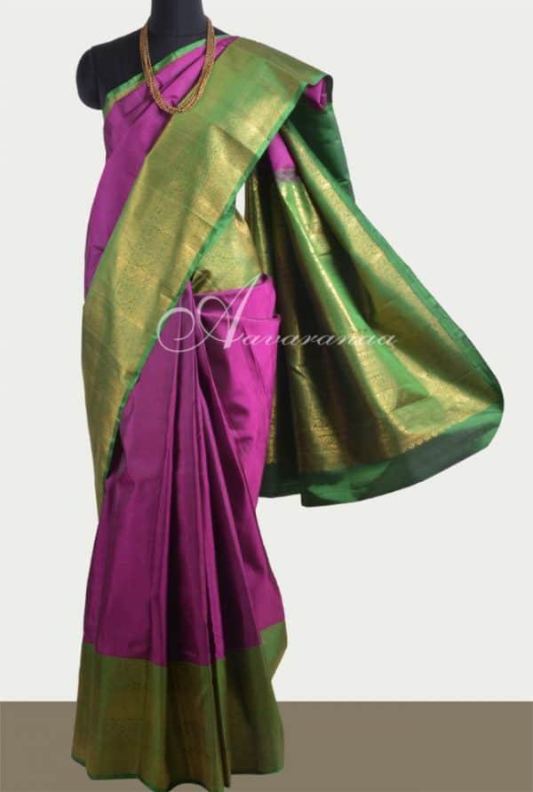 Majenta kanchi silk saree with green border-0