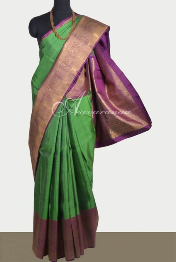 Green kanchi silk sari with purple border-0